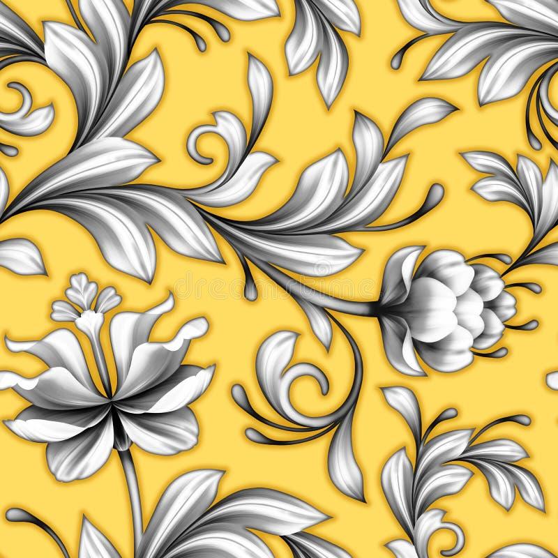 Abstract bloemen naadloos patroon, het kantachtergrond van huwelijksbloemen stock illustratie