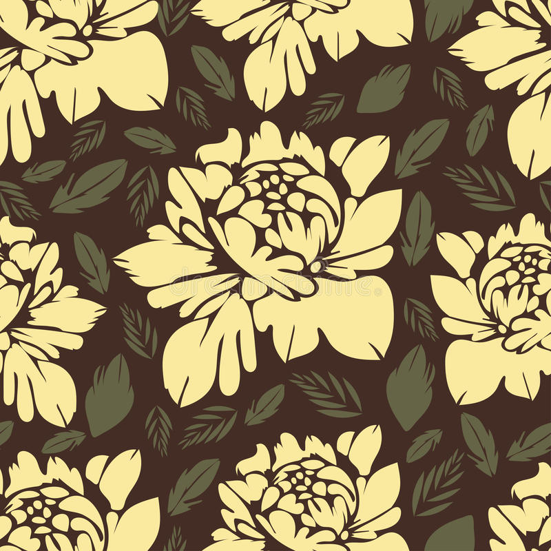 Abstract bloemen naadloos patroon Uitstekende bloemenachtergrond Gele knoppen en bladeren op een bruin Voor het stoffenontwerp, b vector illustratie
