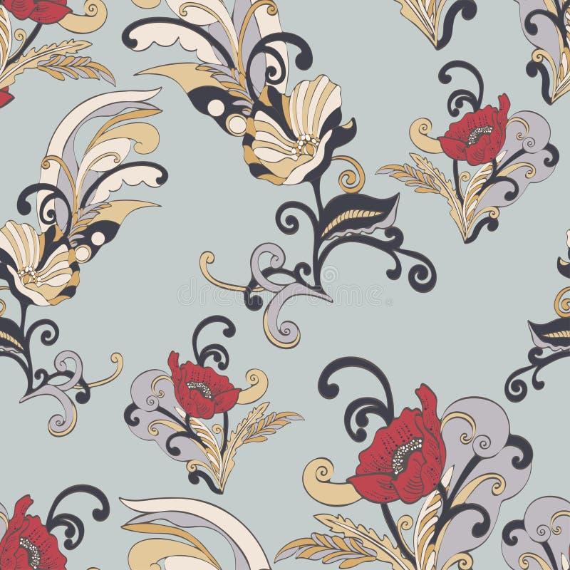 Abstract bloemen naadloos patroon, vector bloemenachtergrond, beeldverhaal hand-drawn, uitstekend elegant ornament kleurrijk stock illustratie