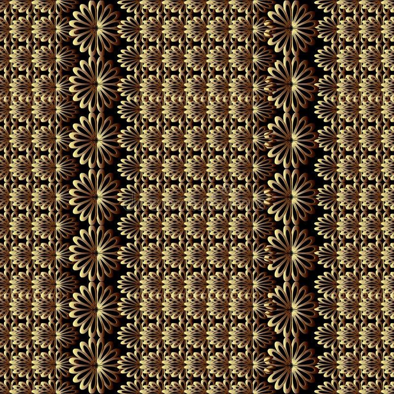 Abstract bloemen vector naadloos patroon Zwarte achtergrond met t royalty-vrije illustratie
