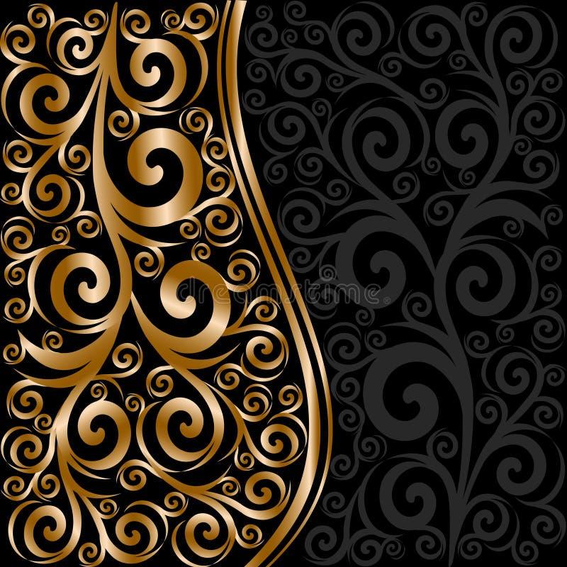 abstract bloemenornament met golven stock illustratie