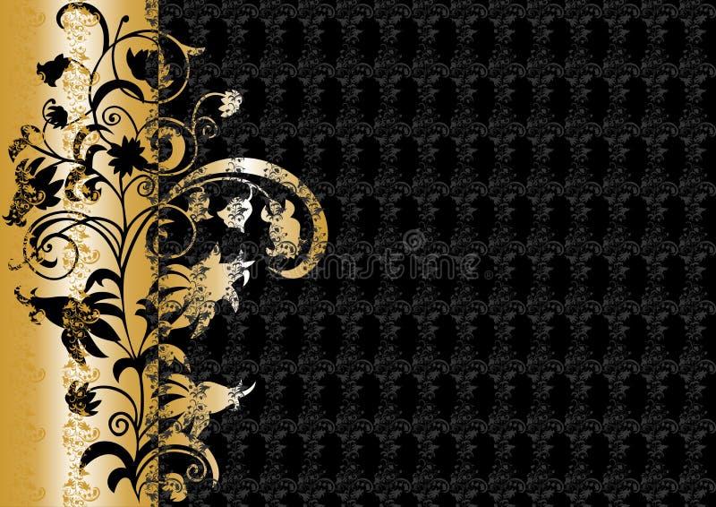 Abstract bloemenornament in zwarte en gouden kleuren stock illustratie