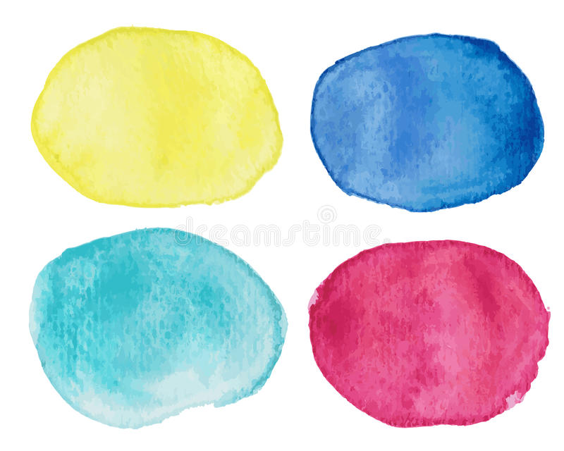 Abstract blots with watercolor effect. Watercolor blots in pink, yellow, blue and turquoise royalty free illustration