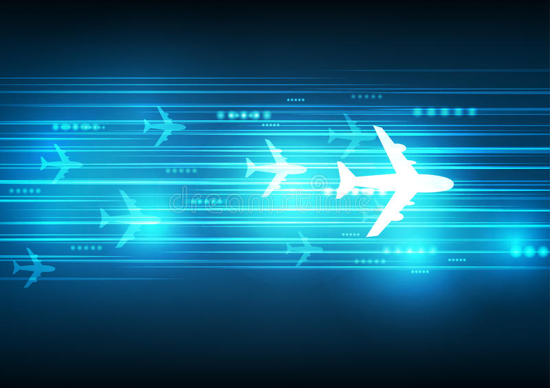 Abstract Blue aircraft technology. Communicate background, illustration vector illustration