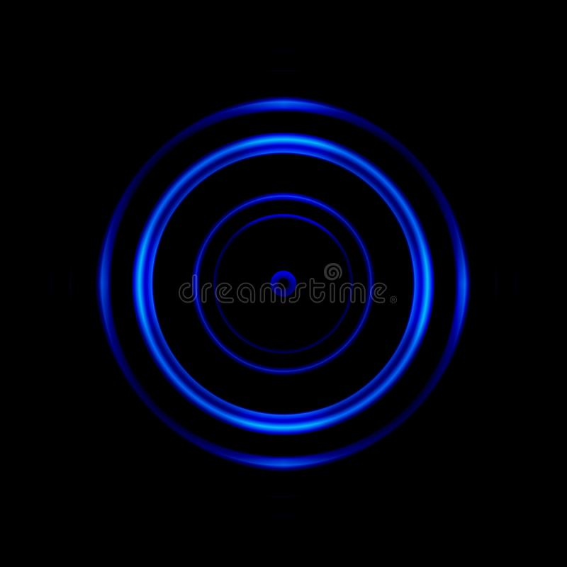 Abstract blue aperture lens on black background.  stock illustration