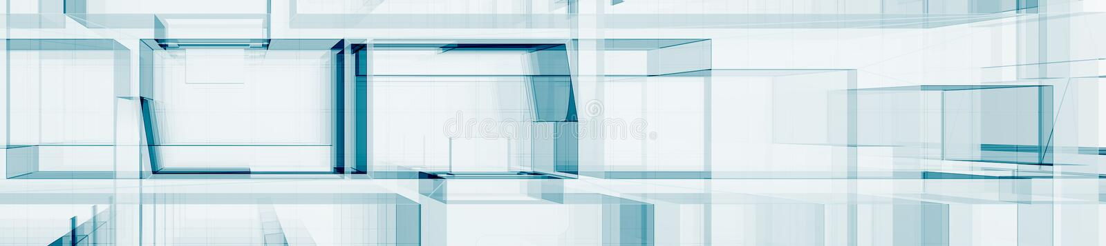 Abstract blue architecture 3d rendering stock illustration