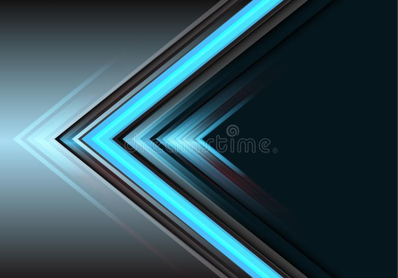 Abstract blue arrow light power direction on grey design modern futuristic background vector stock illustration
