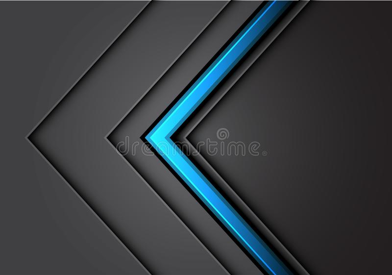 Abstract blue arrow line light gray metal direction overlap with dark blank space design modern luxury futuristic. Background vector illustration vector illustration