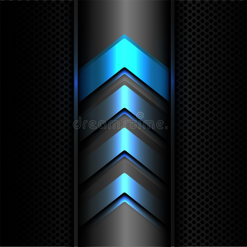 Abstract blue arrow power light technology on dark gray metal circle mesh design modern futuristic background texture vector. royalty free illustration