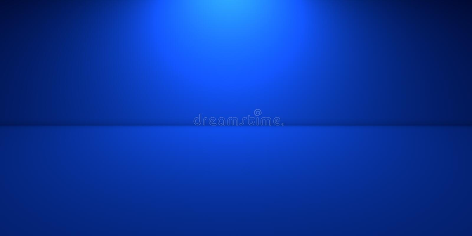 Abstract blue background. Empty room with blue light for new layout, backdrop or template . 3d render royalty free illustration