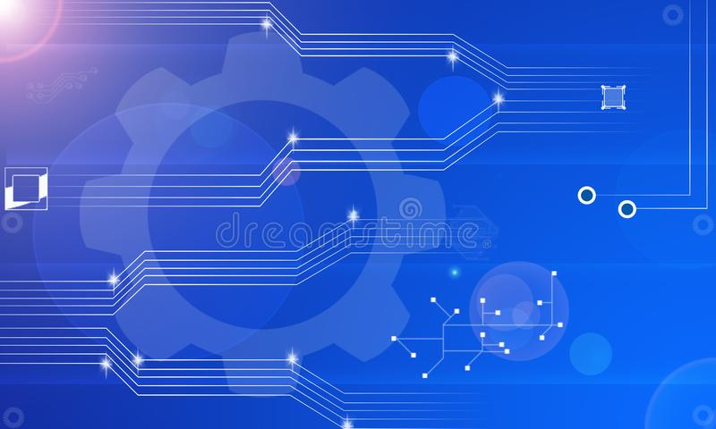 Abstract Blue Background Futuristic Information Technology Electronics Data flow Circuit Abstract Background on Blue. Abstract Blue Business Background stock illustration