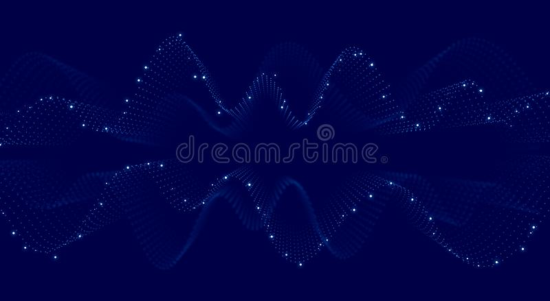 Abstract blue background. Illustration. Waves and dots. Abstract blue background. Illustration. Blue waves and white dots vector illustration