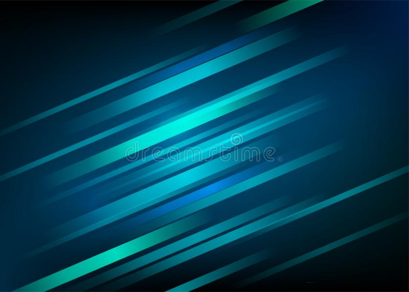 Abstract blue background with light diagonal lines. Speed motion design. Dynamic sport texture. Technology stream vector stock illustration