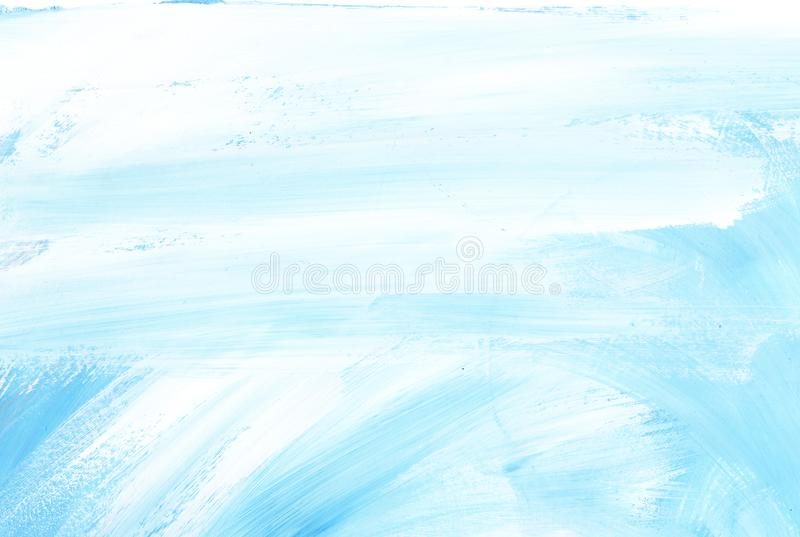 Abstract blue background. Light sky with clouds. Texture of a paint on paper Hand drawn illustration royalty free illustration