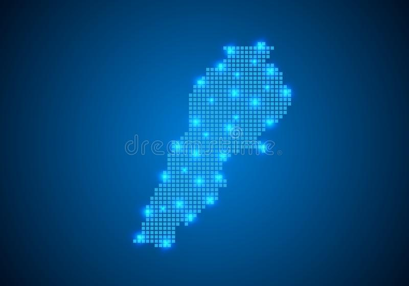 Abstract blue background with map, internet line, connected points. map with dot nodes. Global network connection concept. Wire. Abstract blue background with royalty free illustration