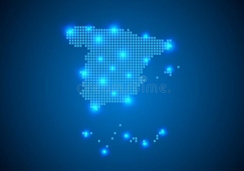 Abstract blue background with map, internet line, connected points. map with dot nodes. Global network connection concept. Wire. Abstract blue background with vector illustration
