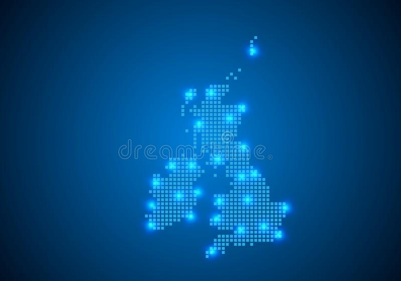 Abstract blue background with map, internet line, connected points. map with dot nodes. Global network connection concept. Wire vector illustration