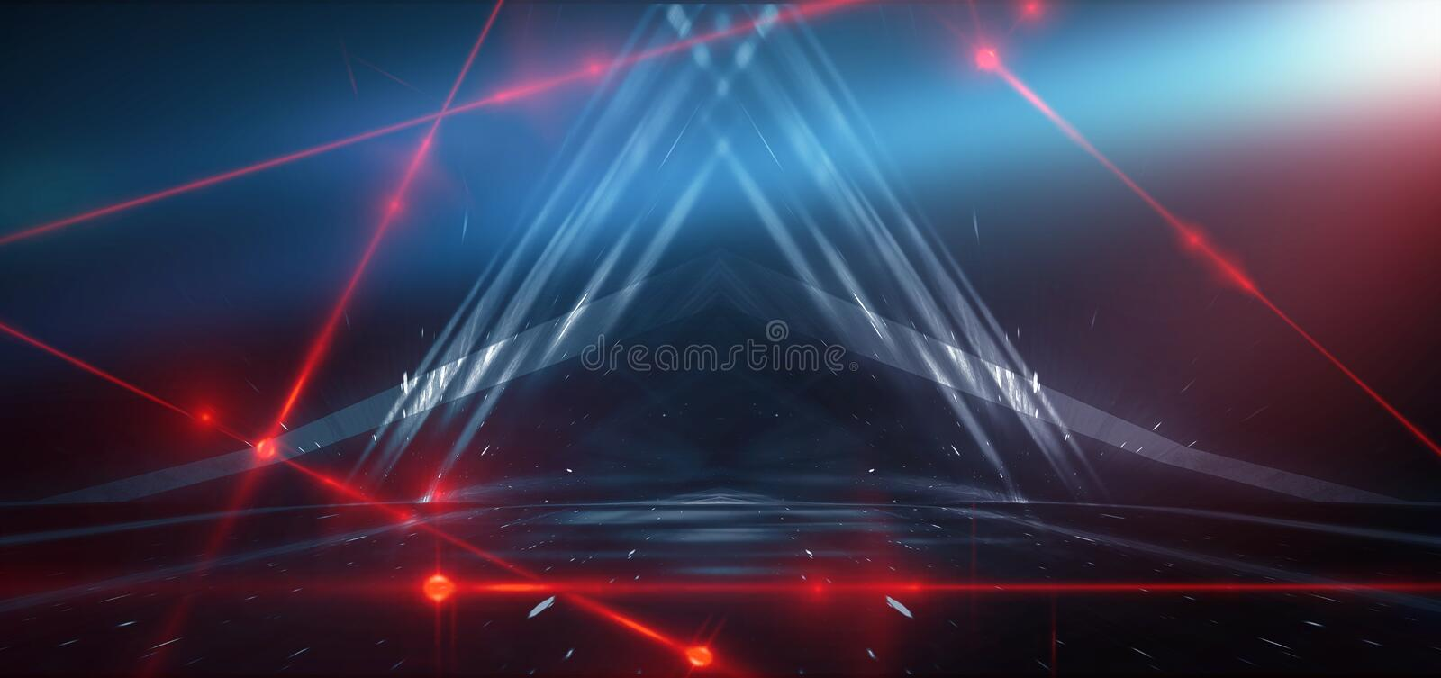 Abstract blue background with neon light, tunnel, corridor, red laser rays, smoke. Light arch. Abstraction of blue with neon, rays, lines stock photo