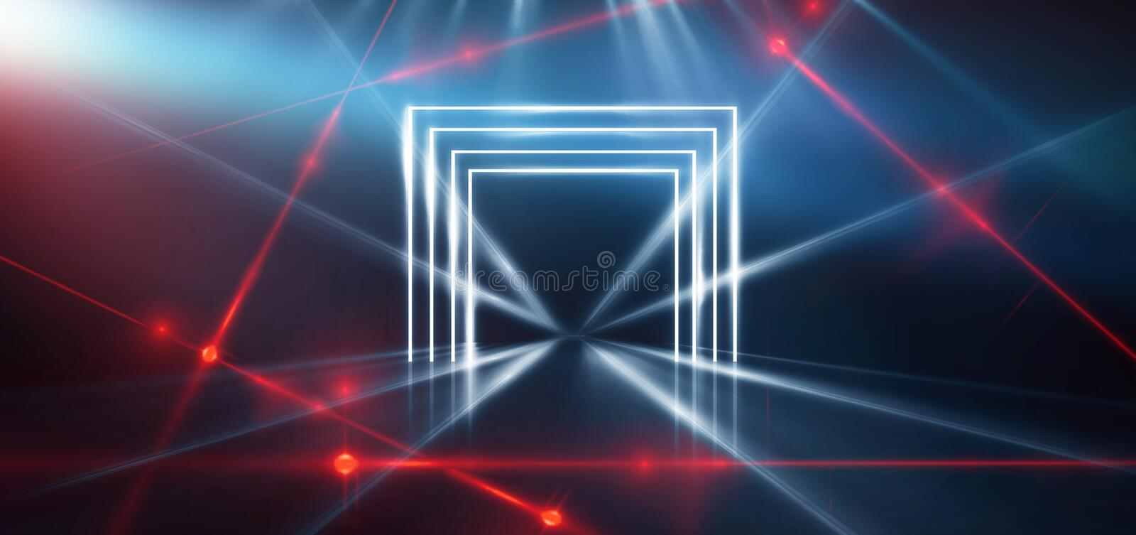 Abstract blue background with neon light, tunnel, corridor, red laser rays, smoke. Light arch. Abstraction of blue with neon, rays, lines royalty free stock images