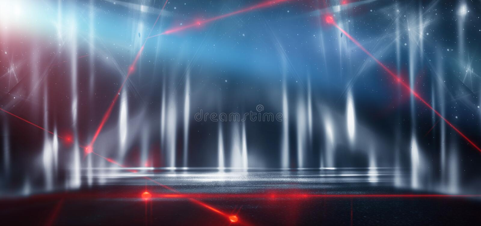 Abstract blue background with neon light, tunnel, corridor, red laser rays, smoke. Light arch. Abstraction of blue with neon, rays, lines stock photography