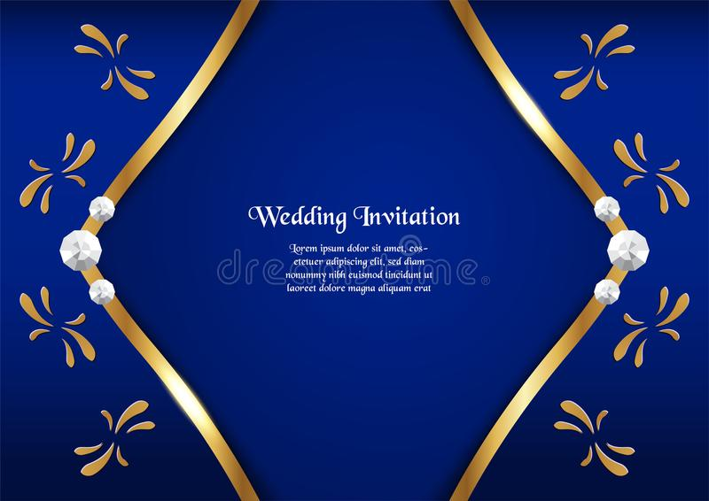 Elegant Background Royal Blue Golden Border Stock