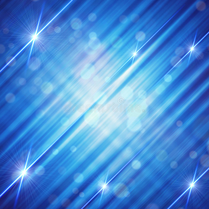 Abstract blue background with shining lines and stars stock illustration