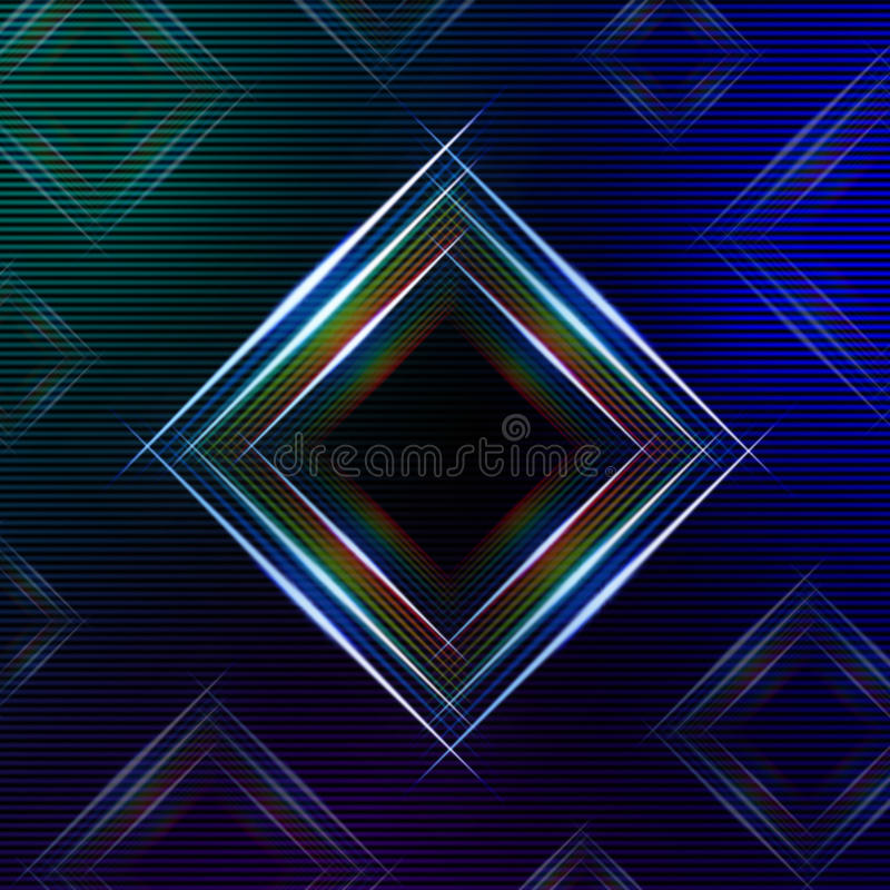 Abstract blue background with shining multicolored squares stock illustration