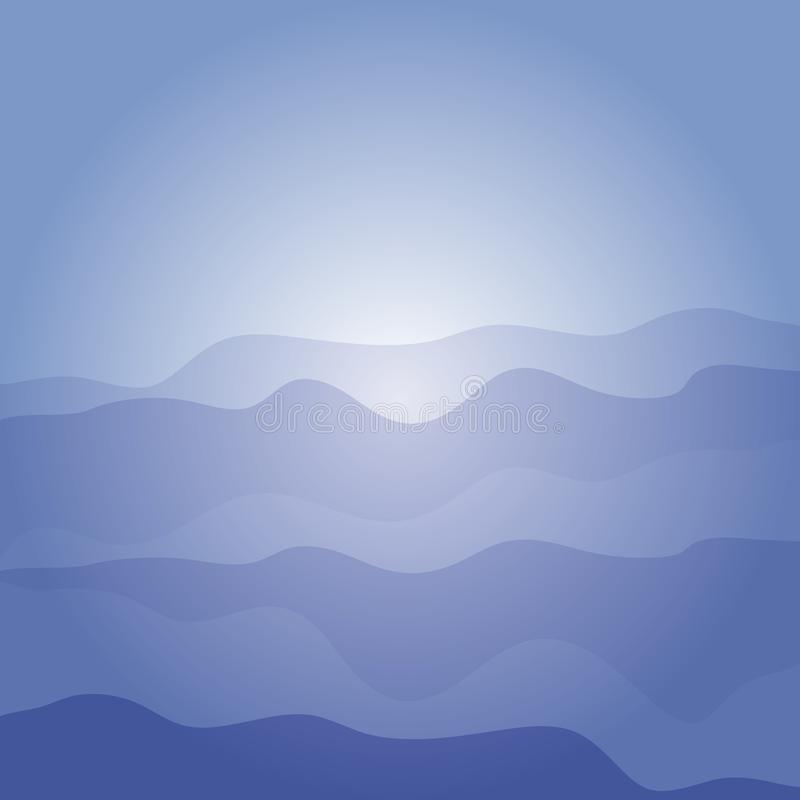 Abstract blue background with stylized sea waves. Vector flat design. royalty free illustration