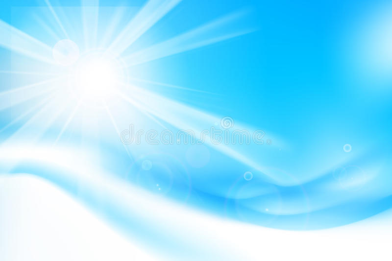 Abstract blue background with sunlight and flare element for sum royalty free stock photo