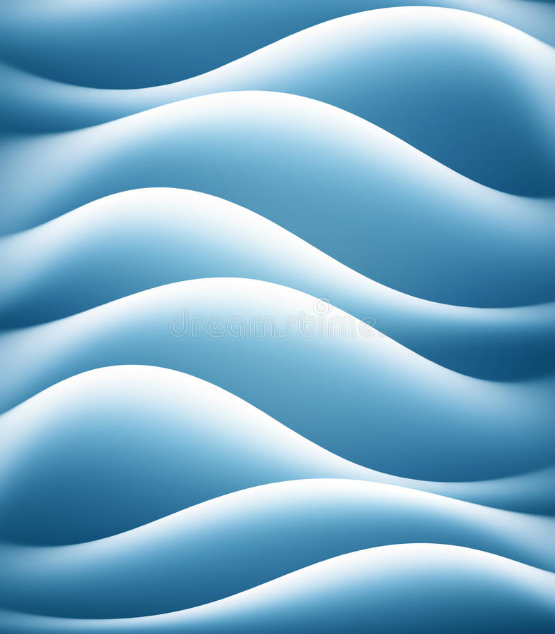 Abstract blue background. Unique abstract blue wave like background with blue color fading to white on wave crests stock illustration