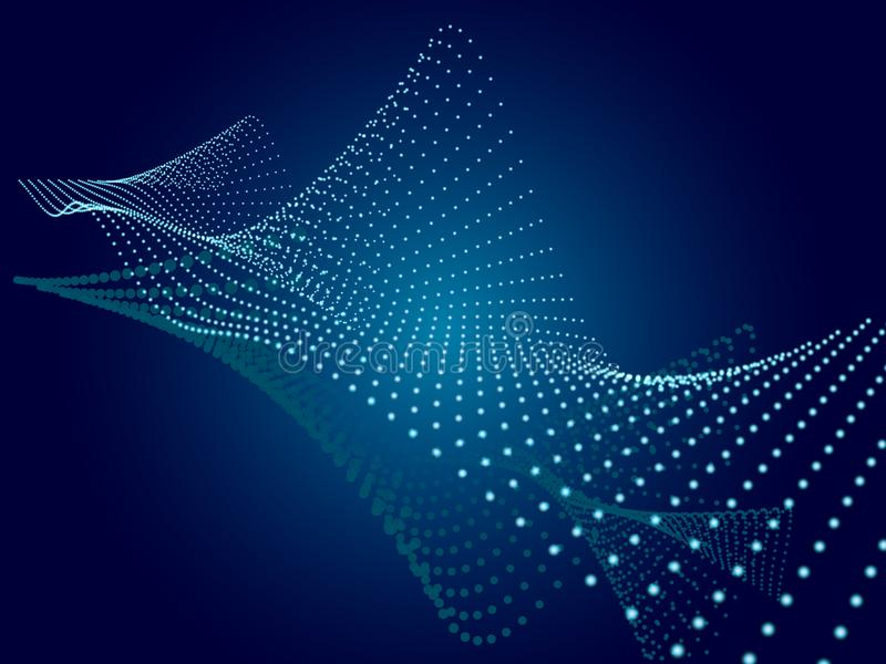 Abstract blue background. Wavy structure with particles. royalty free illustration