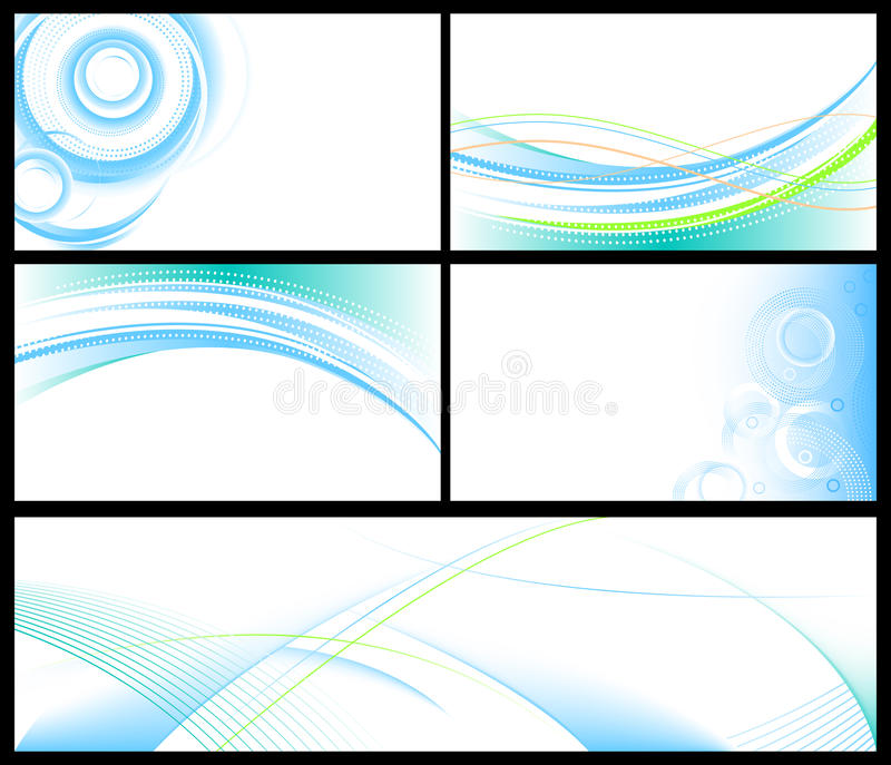 Abstract blue backgrounds set. Vector abstract backgrounds & banners collection