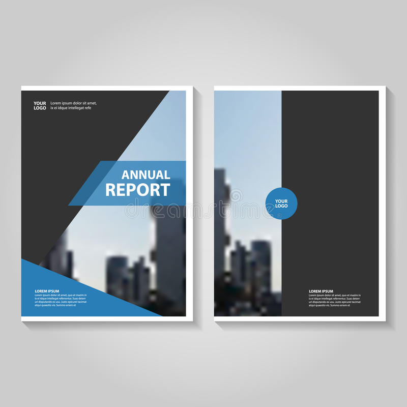 Abstract Blue Black Annual Report Leaflet Brochure Flyer Template