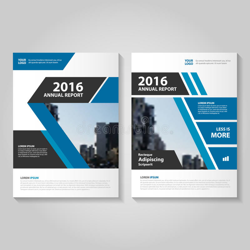 Abstract blue black annual report Leaflet Brochure Flyer template design, book cover layout design stock illustration