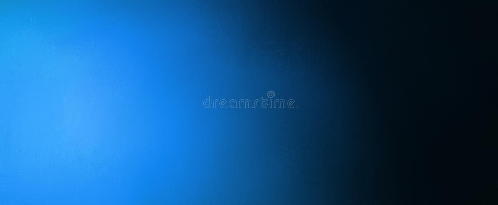 Abstract blue and black background banner with bright blue spotlight and gradient colors royalty free stock image