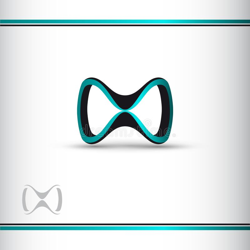 Abstract blue and black 3d infinity symbol. 3d glasses. Conceptual icon. Logo template. Vector illustration. Watermark vector illustration