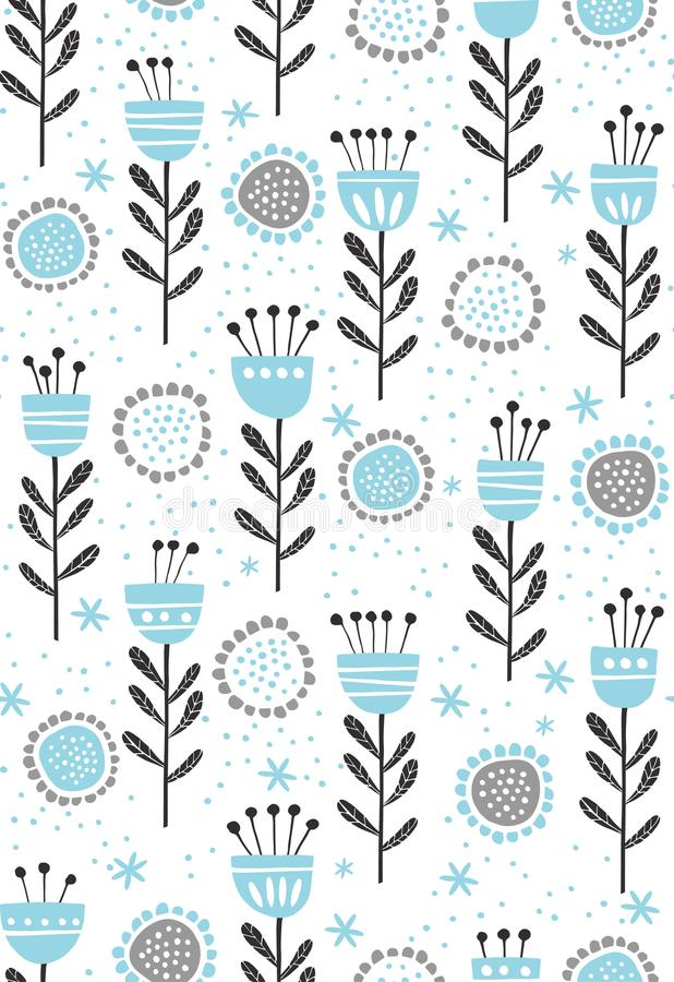 Abstract Floral Vector Pattern. Cute Blue and Black Flowers and Twigs. Infantile Design on a White Background. Abstract blue and black flowers and twigs vector illustration