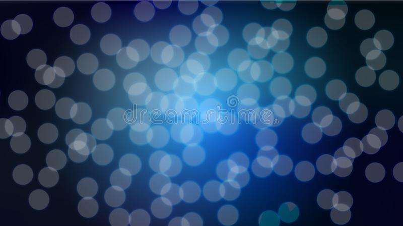 Abstract blue blurred background with bokeh effect. Magical bright festive multicolored beautiful glowing shiny with light spots, vector illustration