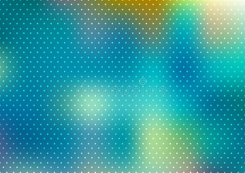 Abstract blue blurred background with polka dots pattern texture. Vector illustration royalty free illustration