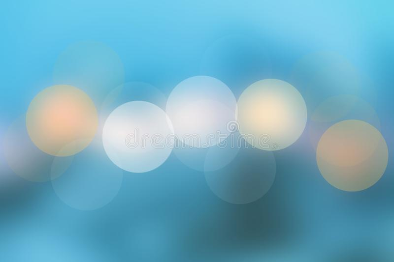 Abstract blue blurred pastel bokeh lights background texture. Beautiful spring or summer illustration stock illustration