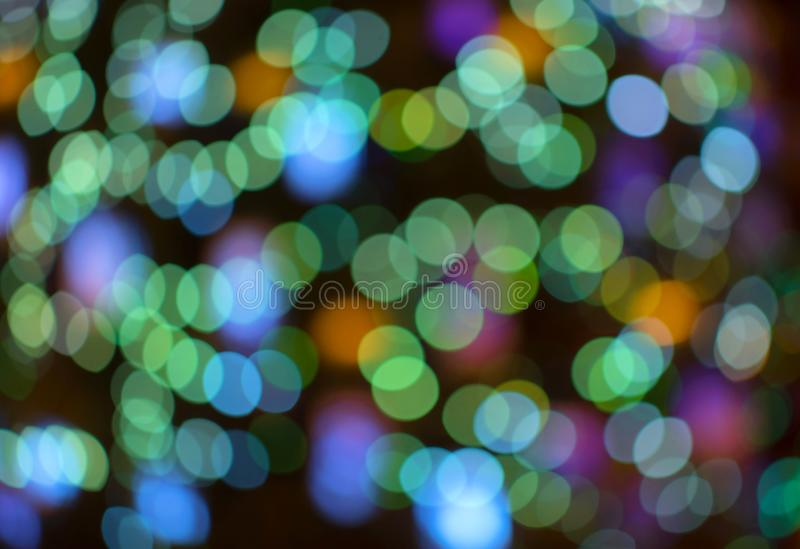 Abstract blue bokeh background. Colored lights of the night city royalty free stock photography