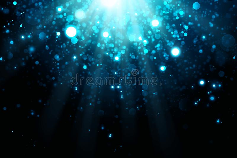 Abstract blue bokeh background.Glitter vintage lights background. royalty free stock photos