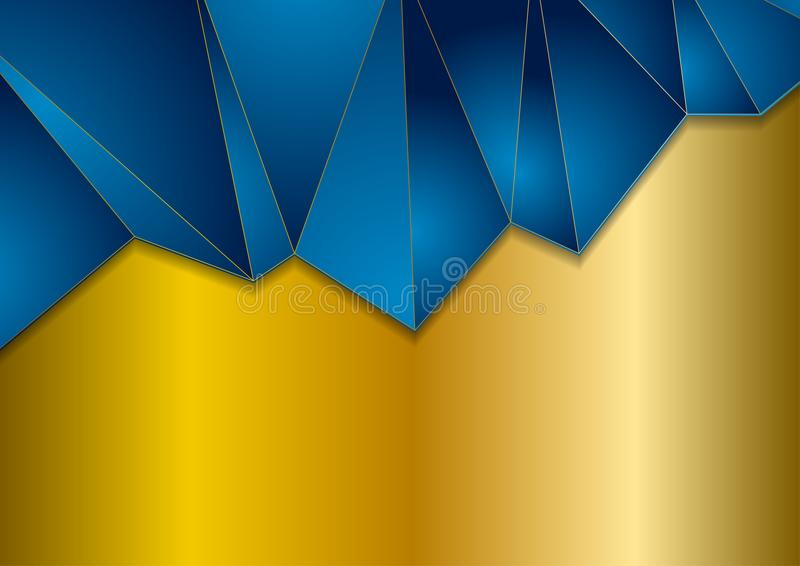 Abstract blue and bronze color polygonal background stock illustration