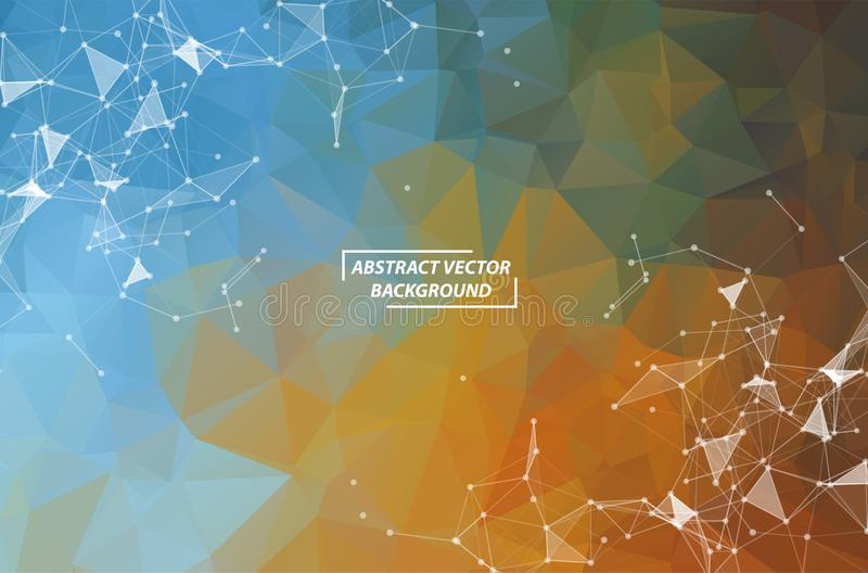 Abstract Blue Brown Polygonal Space Background with Connecting Dots and Lines. Geometric Polygonal background molecule and stock illustration