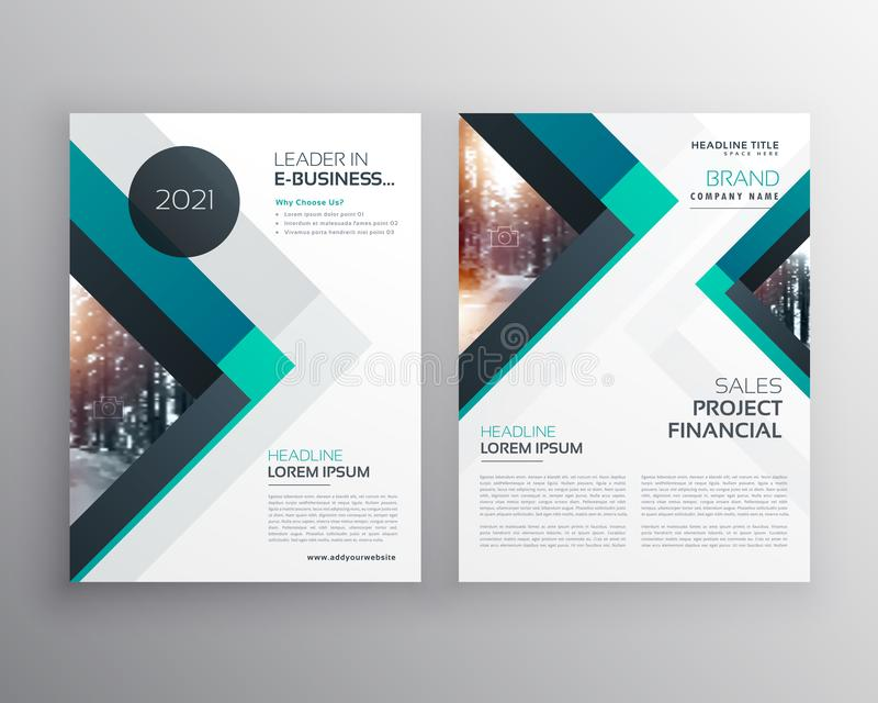 abstract blue business brochure flyer design template with triangle shapes stock illustration