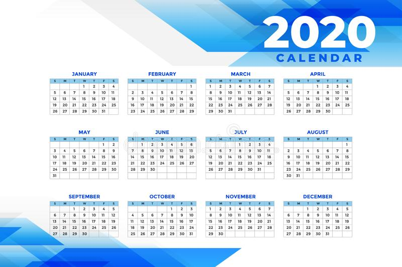 Abstract blue 2020 calendar design template vector illustration