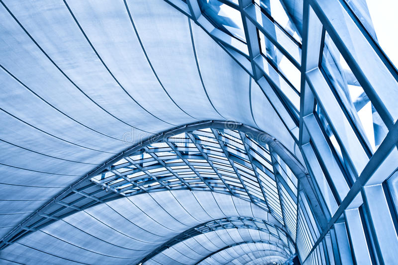 Abstract blue ceiling interior background stock photos