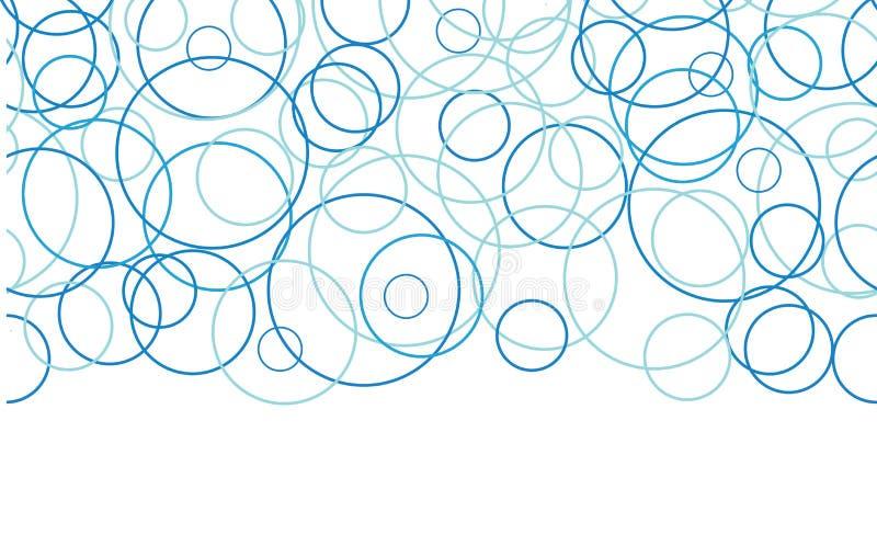 Abstract blue circles horizontal border seamless royalty free illustration