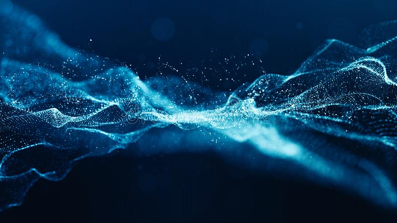 Abstract blue color digital particles wave with bokeh and light background vector illustration