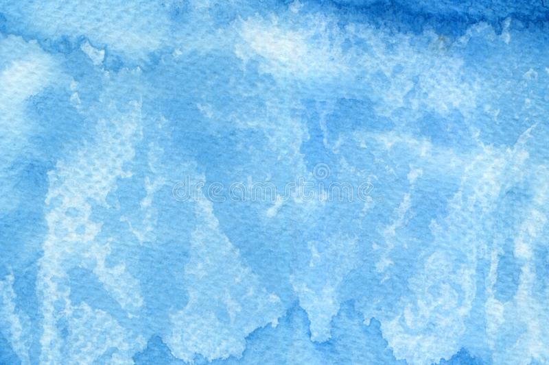 Abstract blue color watercolor gouache on white background royalty free stock photo